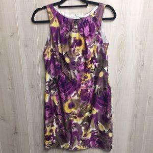 Ann Taylor silk blend purple watercolor dress